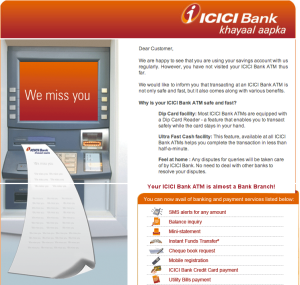 """ICICI Bank - We miss you at our ATMs"""